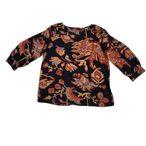 GLAM abstract pattern 3/4 sleeve boxy blouse top